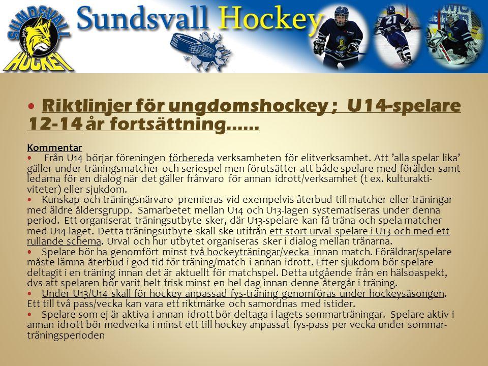 Riktlinjer för ungdomshockey ; U14-spelare 12-14 år fortsättning…… Kommentar Från U14 börjar föreningen förbereda verksamheten för elitverksamhet.