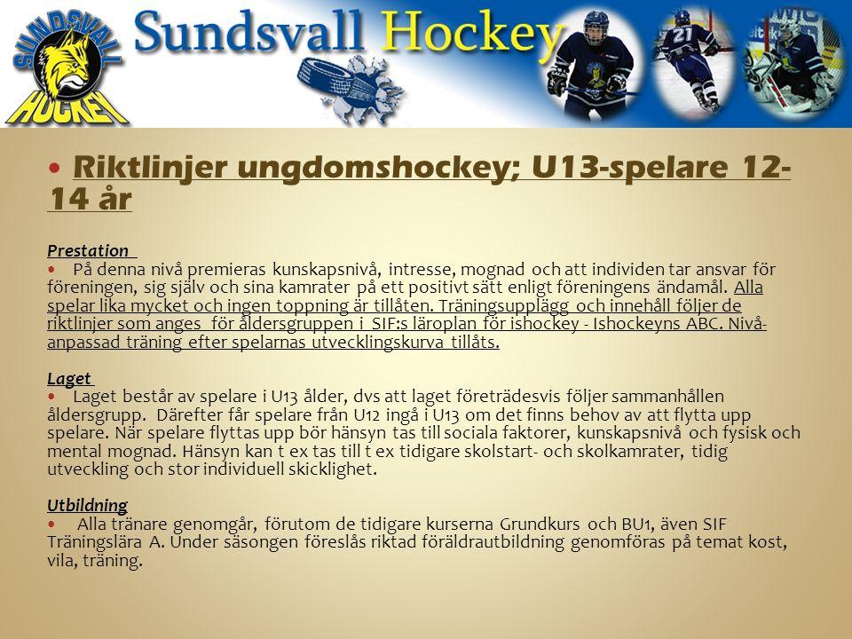 Riktlinjer ungdomshockey; U13-spelare 12- 14 år Prestation På denna nivå premieras kunskapsnivå, intresse, mognad och att individen tar ansvar för föreningen, sig själv och sina kamrater på ett positivt sätt enligt föreningens ändamål.
