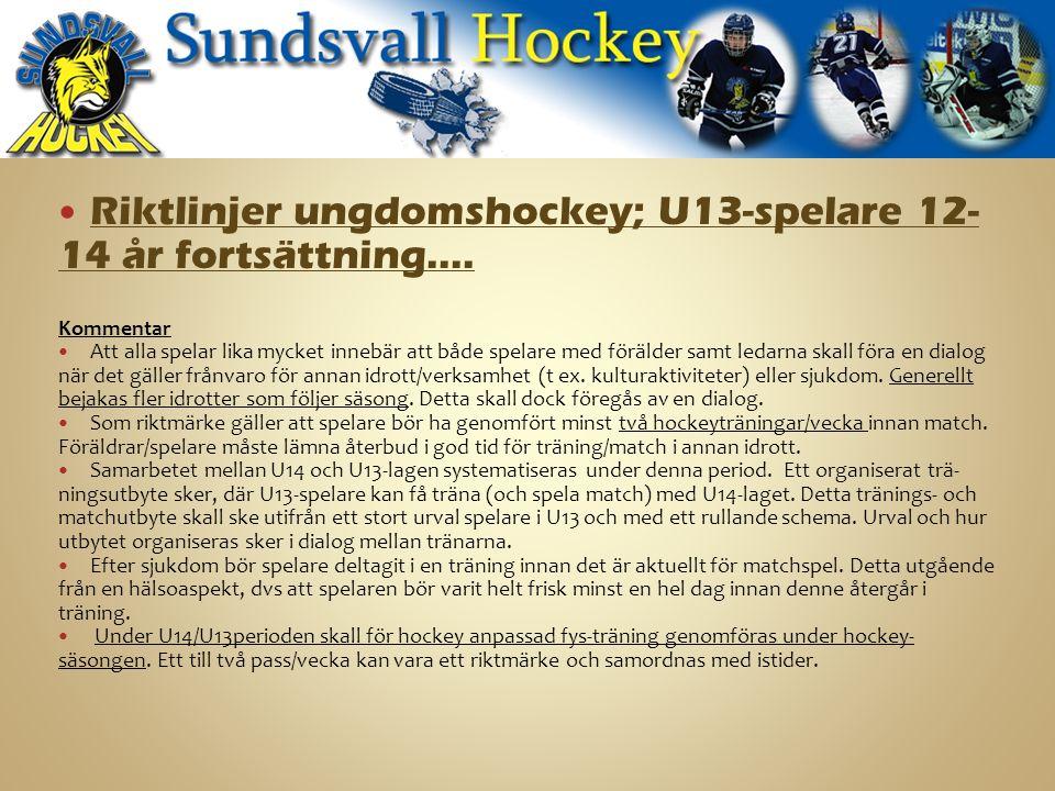 Riktlinjer ungdomshockey; U13-spelare 12- 14 år fortsättning….