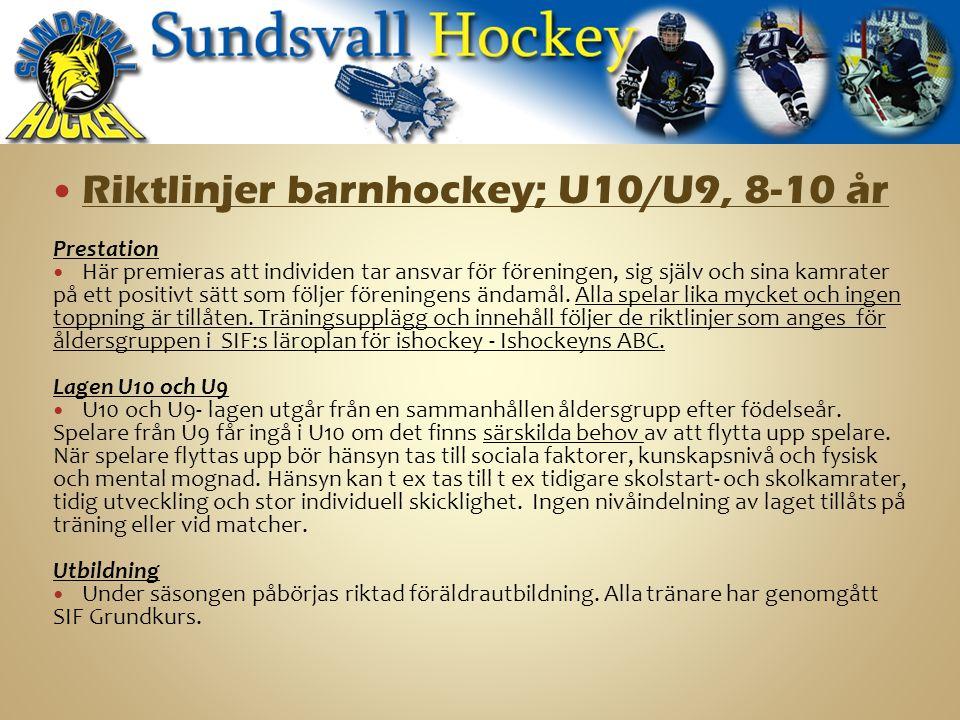 Riktlinjer barnhockey; U10/U9, 8-10 år Prestation Här premieras att individen tar ansvar för föreningen, sig själv och sina kamrater på ett positivt sätt som följer föreningens ändamål.