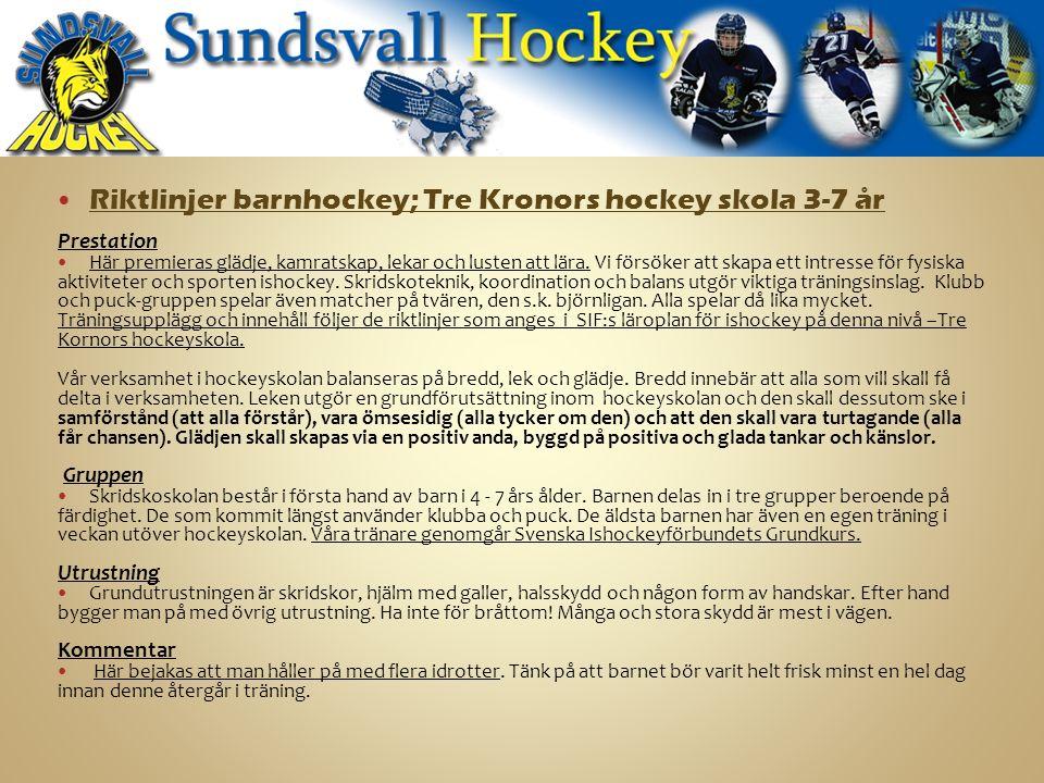 Riktlinjer barnhockey; Tre Kronors hockey skola 3-7 år Prestation Här premieras glädje, kamratskap, lekar och lusten att lära.