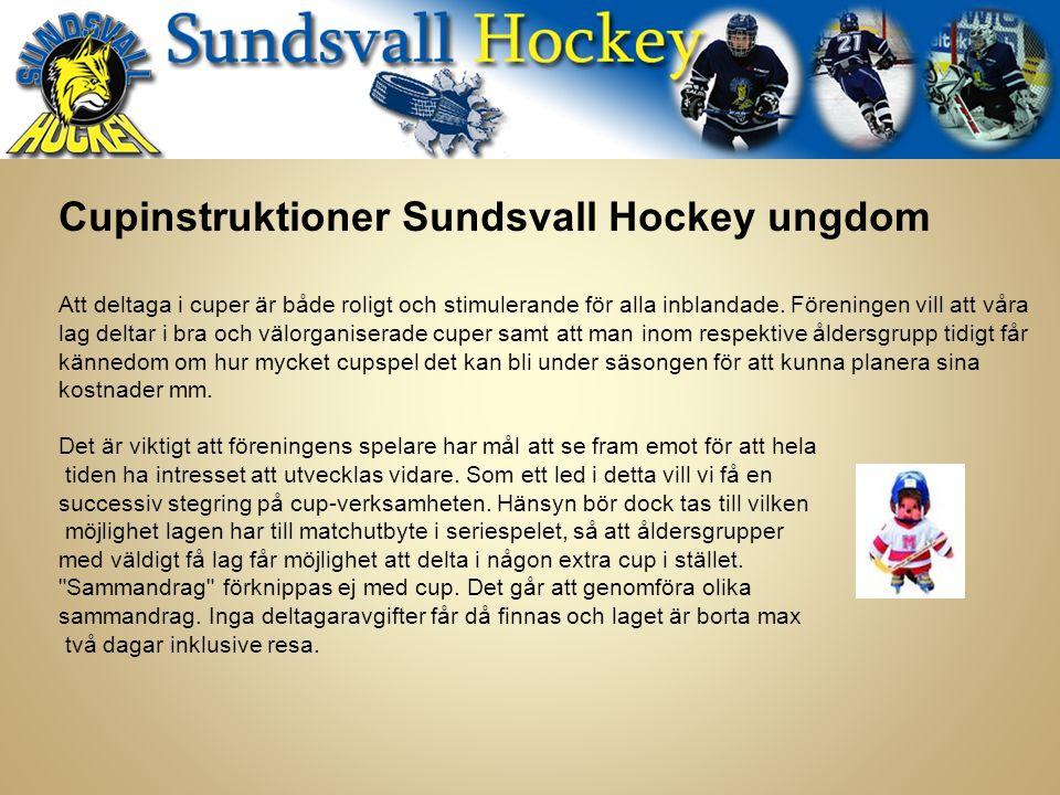 Cupinstruktioner Sundsvall Hockey ungdom Att deltaga i cuper är både roligt och stimulerande för alla inblandade.