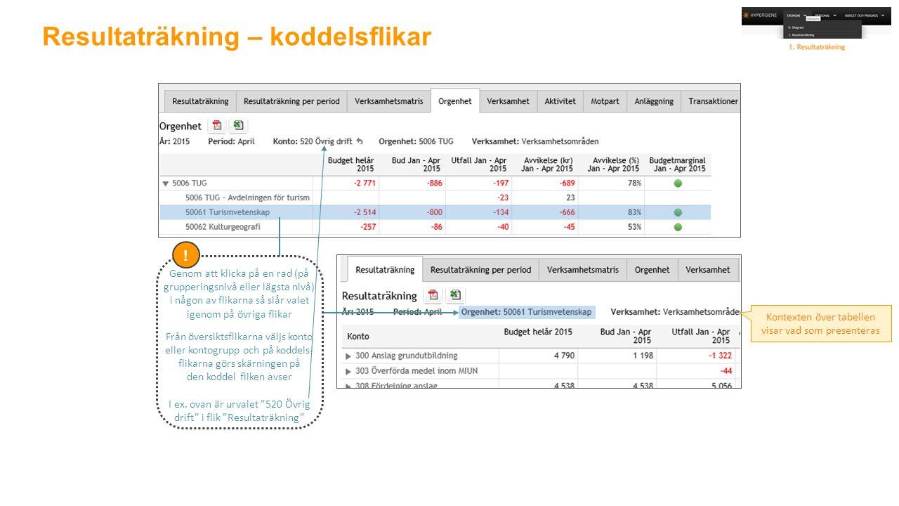Resultaträkning – koddelsflikar Kontexten över tabellen visar vad som presenteras .