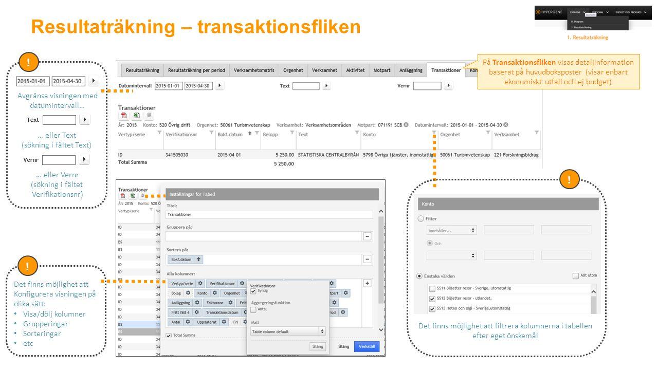 Resultaträkning – transaktionsfliken Avgränsa visningen med datumintervall… … eller Text (sökning i fältet Text) … eller Vernr (sökning i fältet Verifikationsnr) .