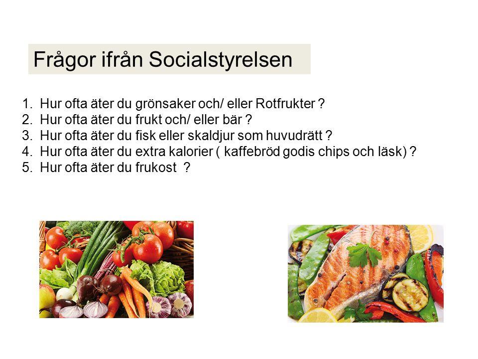 Frågor ifrån Socialstyrelsen 1.Hur ofta äter du grönsaker och/ eller Rotfrukter .