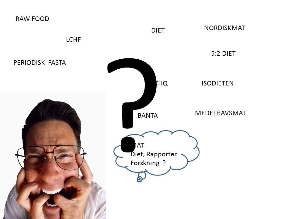 LCHF LCHQ GI DIET BANTA 5:2 DIET PERIODISK FASTA ISODIETEN RAW FOOD MEDELHAVSMAT NORDISKMAT MAT Diet, Rapporter Forskning .