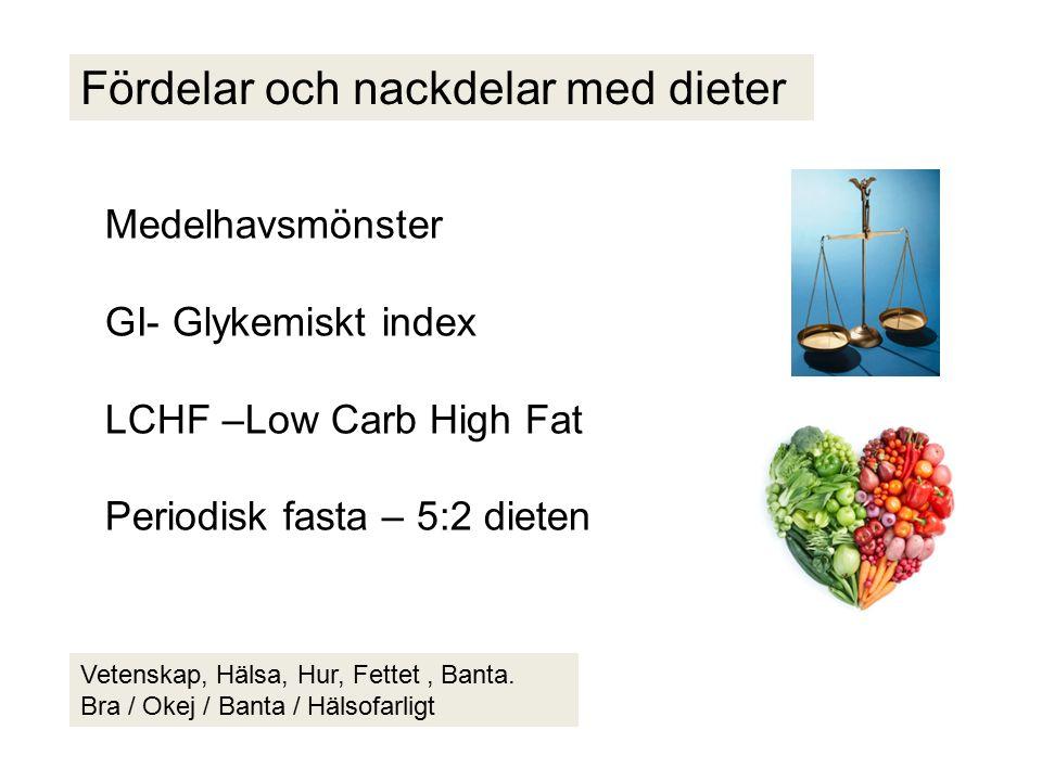 Fördelar och nackdelar med dieter Medelhavsmönster GI- Glykemiskt index LCHF –Low Carb High Fat Periodisk fasta – 5:2 dieten Vetenskap, Hälsa, Hur, Fettet, Banta.