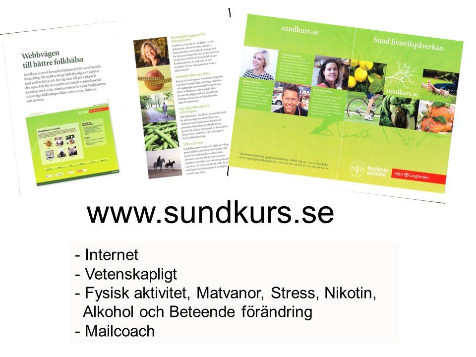 www.sundkurs.se - Internet - Vetenskapligt - Fysisk aktivitet, Matvanor, Stress, Nikotin, Alkohol och Beteende förändring - Mailcoach