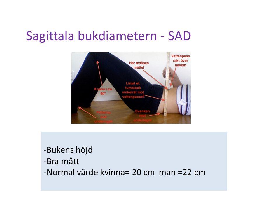 Sagittala bukdiametern - SAD -Bukens höjd -Bra mått -Normal värde kvinna= 20 cm man =22 cm