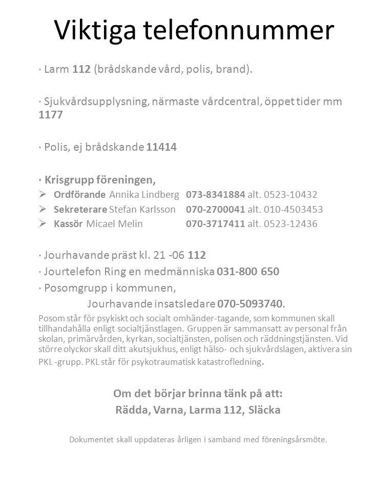 Viktiga telefonnummer · Larm 112 (brådskande vård, polis, brand).
