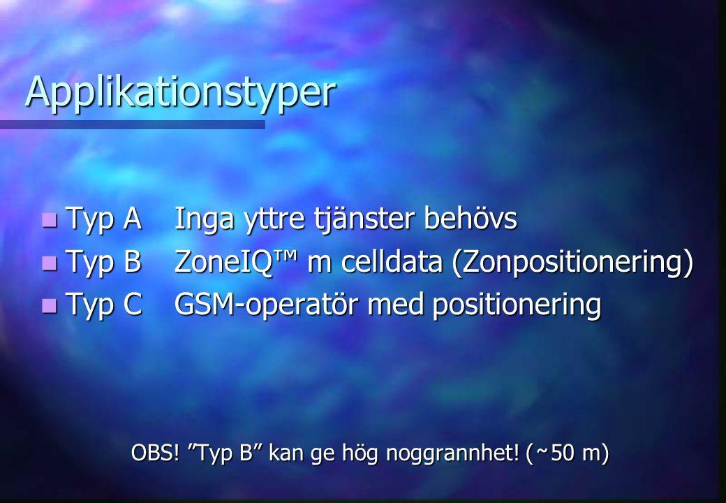 Applikationstyper Typ AInga yttre tjänster behövs Typ AInga yttre tjänster behövs Typ BZoneIQ™ m celldata (Zonpositionering) Typ BZoneIQ™ m celldata (