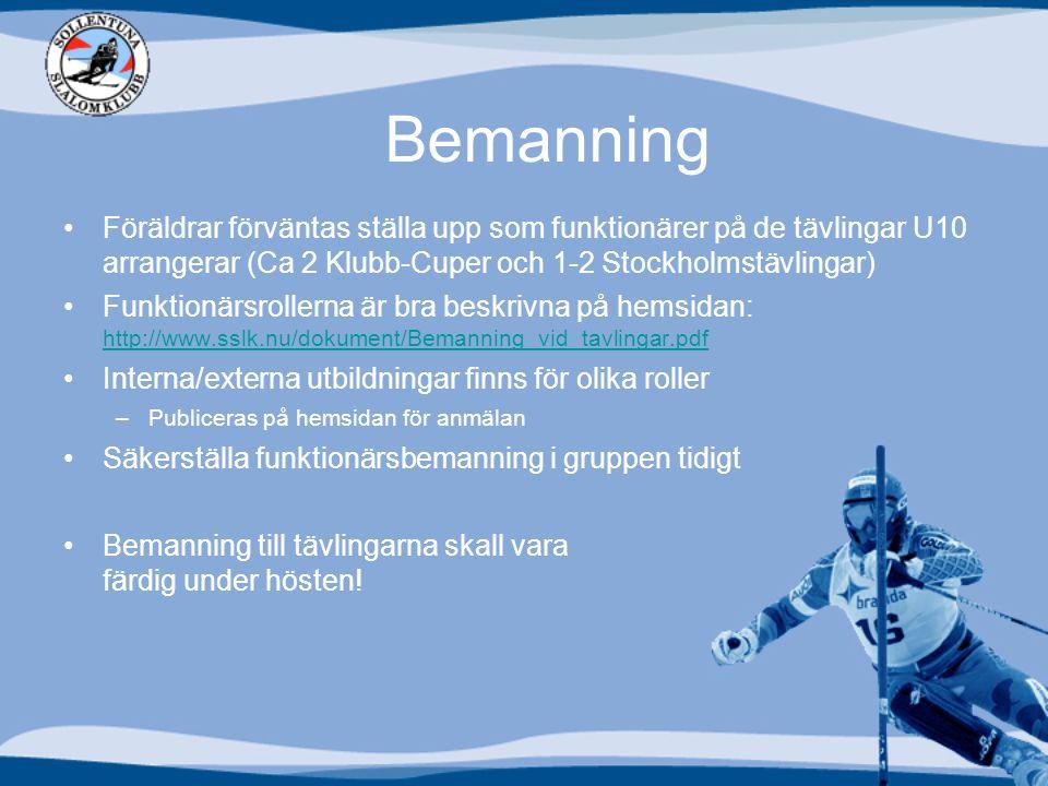 Bemanning Föräldrar förväntas ställa upp som funktionärer på de tävlingar U10 arrangerar (Ca 2 Klubb-Cuper och 1-2 Stockholmstävlingar) Funktionärsrollerna är bra beskrivna på hemsidan: http://www.sslk.nu/dokument/Bemanning_vid_tavlingar.pdf http://www.sslk.nu/dokument/Bemanning_vid_tavlingar.pdf Interna/externa utbildningar finns för olika roller –Publiceras på hemsidan för anmälan Säkerställa funktionärsbemanning i gruppen tidigt Bemanning till tävlingarna skall vara färdig under hösten!