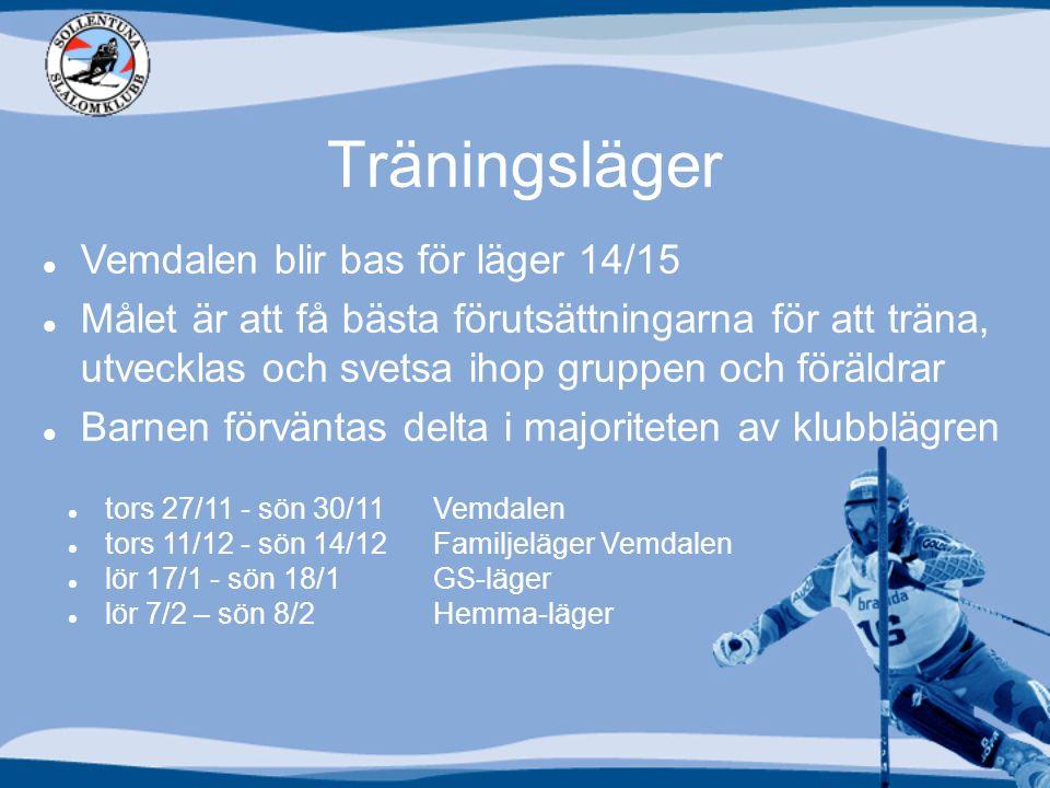 Träningsläger Vemdalen blir bas för läger 14/15 Målet är att få bästa förutsättningarna för att träna, utvecklas och svetsa ihop gruppen och föräldrar Barnen förväntas delta i majoriteten av klubblägren tors 27/11 - sön 30/11 Vemdalen tors 11/12 - sön 14/12 Familjeläger Vemdalen lör 17/1 - sön 18/1 GS-läger lör 7/2 – sön 8/2 Hemma-läger