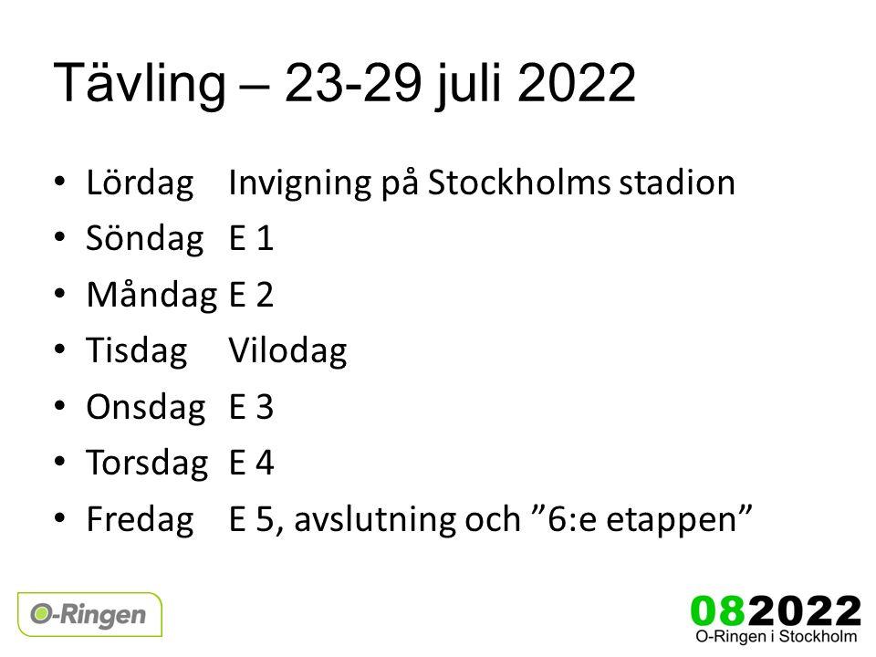 Tävling – 23-29 juli 2022 LördagInvigning på Stockholms stadion SöndagE 1 MåndagE 2 TisdagVilodag OnsdagE 3 Torsdag E 4 FredagE 5, avslutning och 6:e etappen