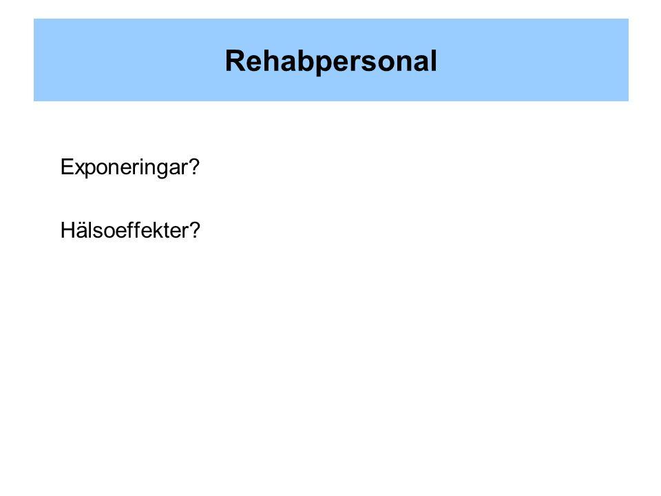 Rehabpersonal Exponeringar Hälsoeffekter