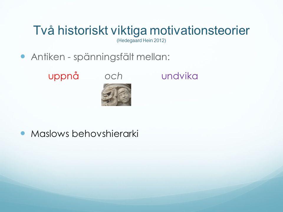 Två historiskt viktiga motivationsteorier (Hedegaard Hein 2012) Antiken - spänningsfält mellan: uppnå och undvika Maslows behovshierarki
