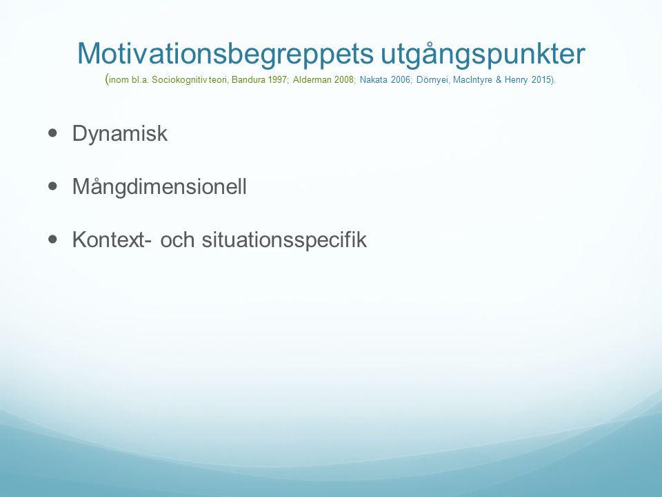 Motivationsbegreppets utgångspunkter ( inom bl.a.