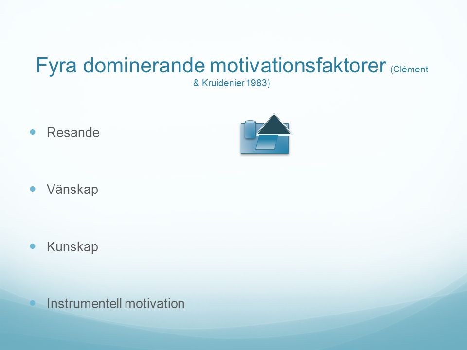 Fyra dominerande motivationsfaktorer (Clément & Kruidenier 1983) Resande Vänskap Kunskap Instrumentell motivation