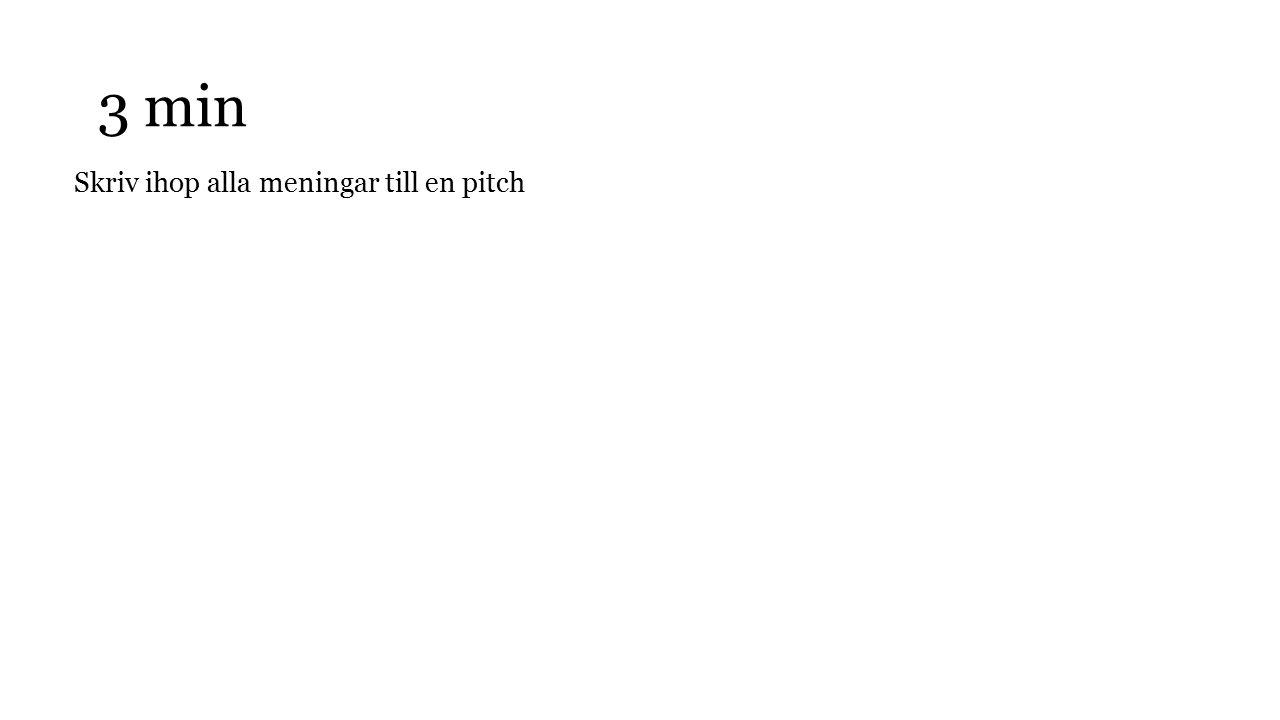 3 min Skriv ihop alla meningar till en pitch