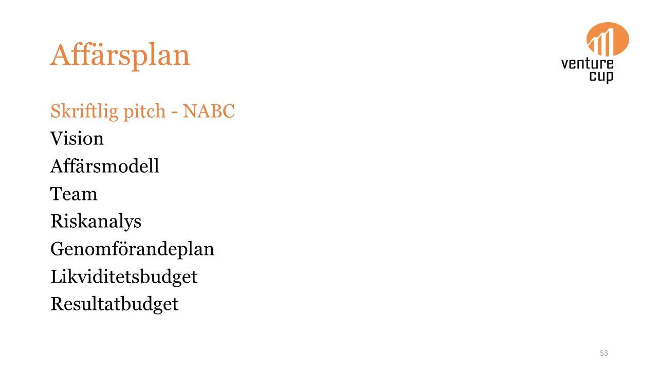 Affärsplan Skriftlig pitch - NABC Vision Affärsmodell Team Riskanalys Genomförandeplan Likviditetsbudget Resultatbudget 53
