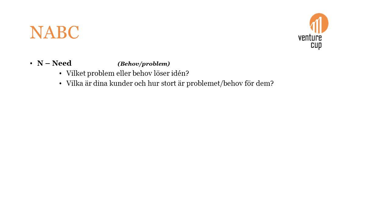 NABC N – Need (Behov/problem) Vilket problem eller behov löser idén.