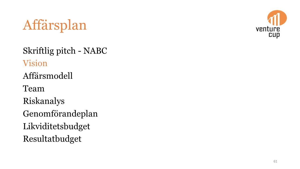 Affärsplan Skriftlig pitch - NABC Vision Affärsmodell Team Riskanalys Genomförandeplan Likviditetsbudget Resultatbudget 61