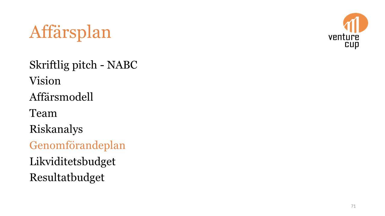 Affärsplan Skriftlig pitch - NABC Vision Affärsmodell Team Riskanalys Genomförandeplan Likviditetsbudget Resultatbudget 71