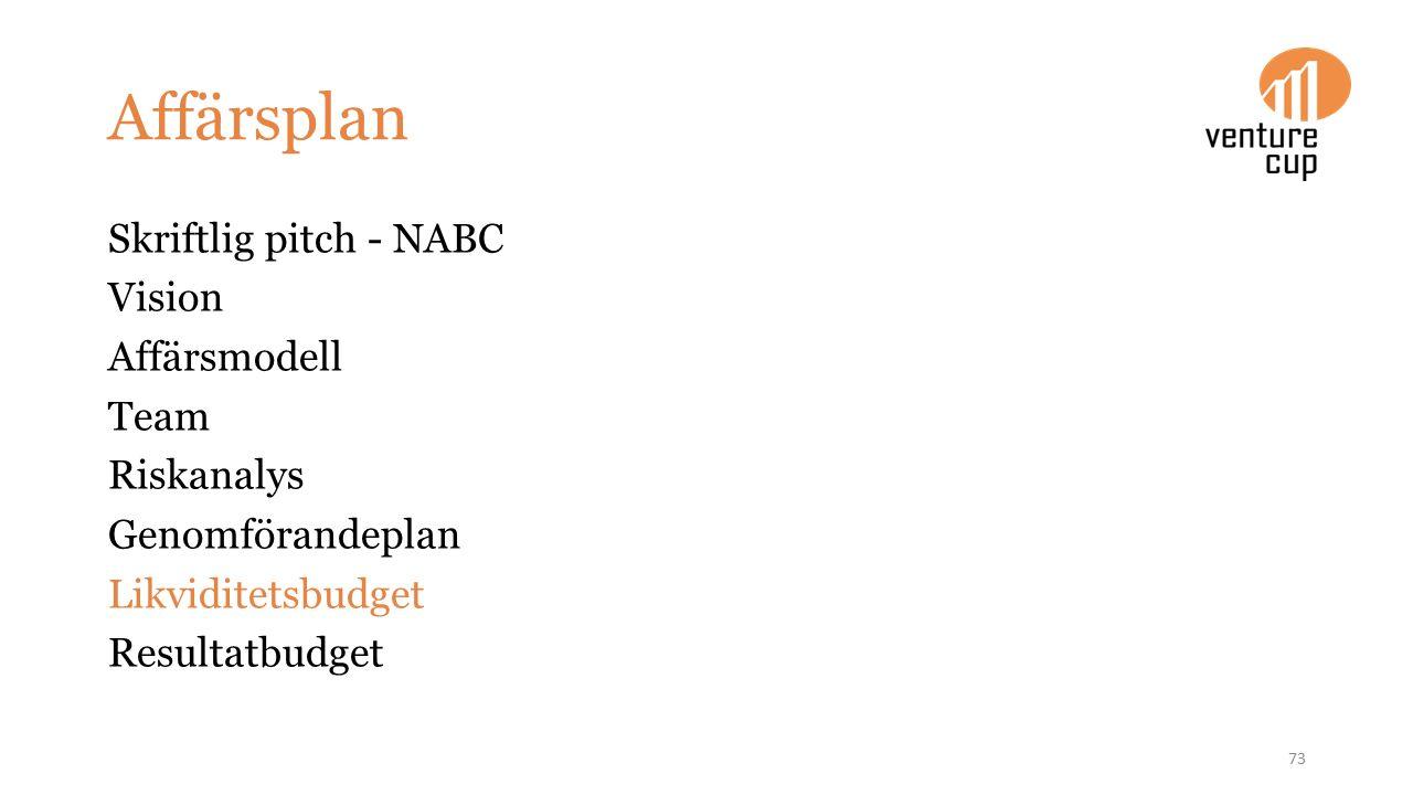 Affärsplan Skriftlig pitch - NABC Vision Affärsmodell Team Riskanalys Genomförandeplan Likviditetsbudget Resultatbudget 73