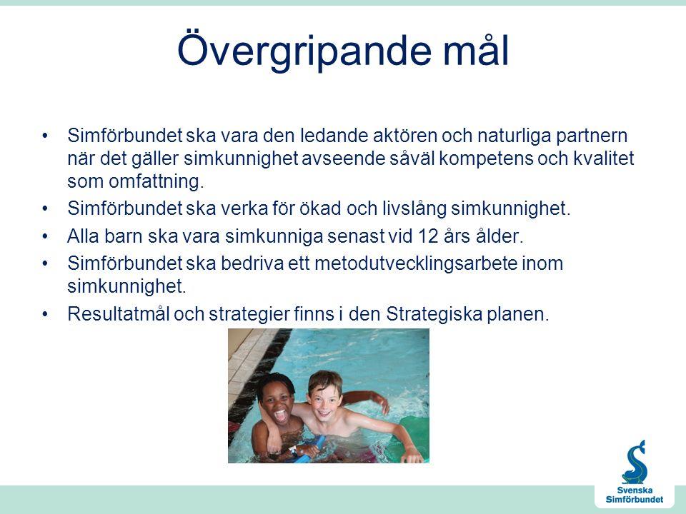 Övergripande mål Simförbundet ska vara den ledande aktören och naturliga partnern när det gäller simkunnighet avseende såväl kompetens och kvalitet som omfattning.