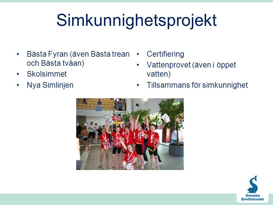 Simkunnighetsprojekt Bästa Fyran (även Bästa trean och Bästa tvåan) Skolsimmet Nya Simlinjen Certifiering Vattenprovet (även i öppet vatten) Tillsammans för simkunnighet