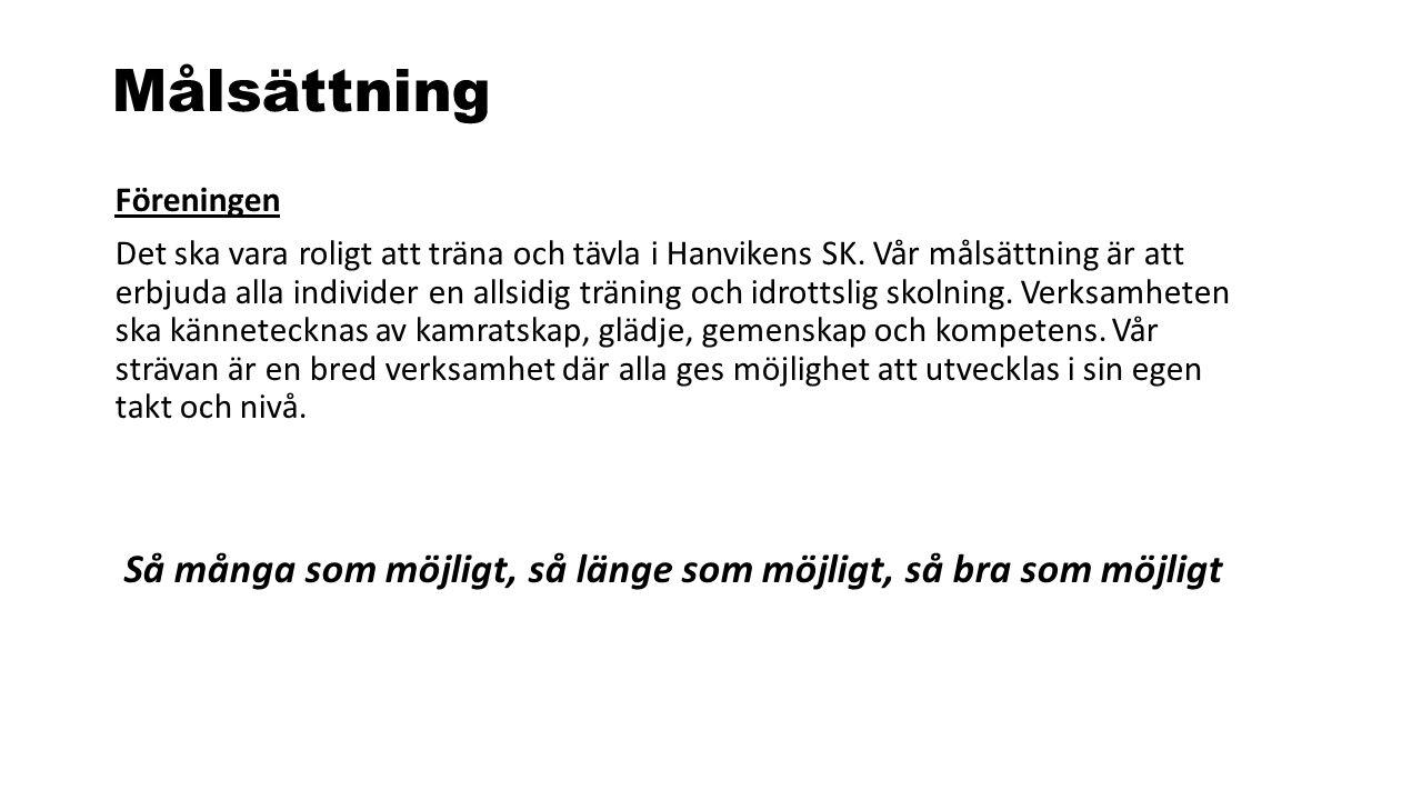 Målsättning Föreningen Det ska vara roligt att träna och tävla i Hanvikens SK. Vår målsättning är att erbjuda alla individer en allsidig träning och i