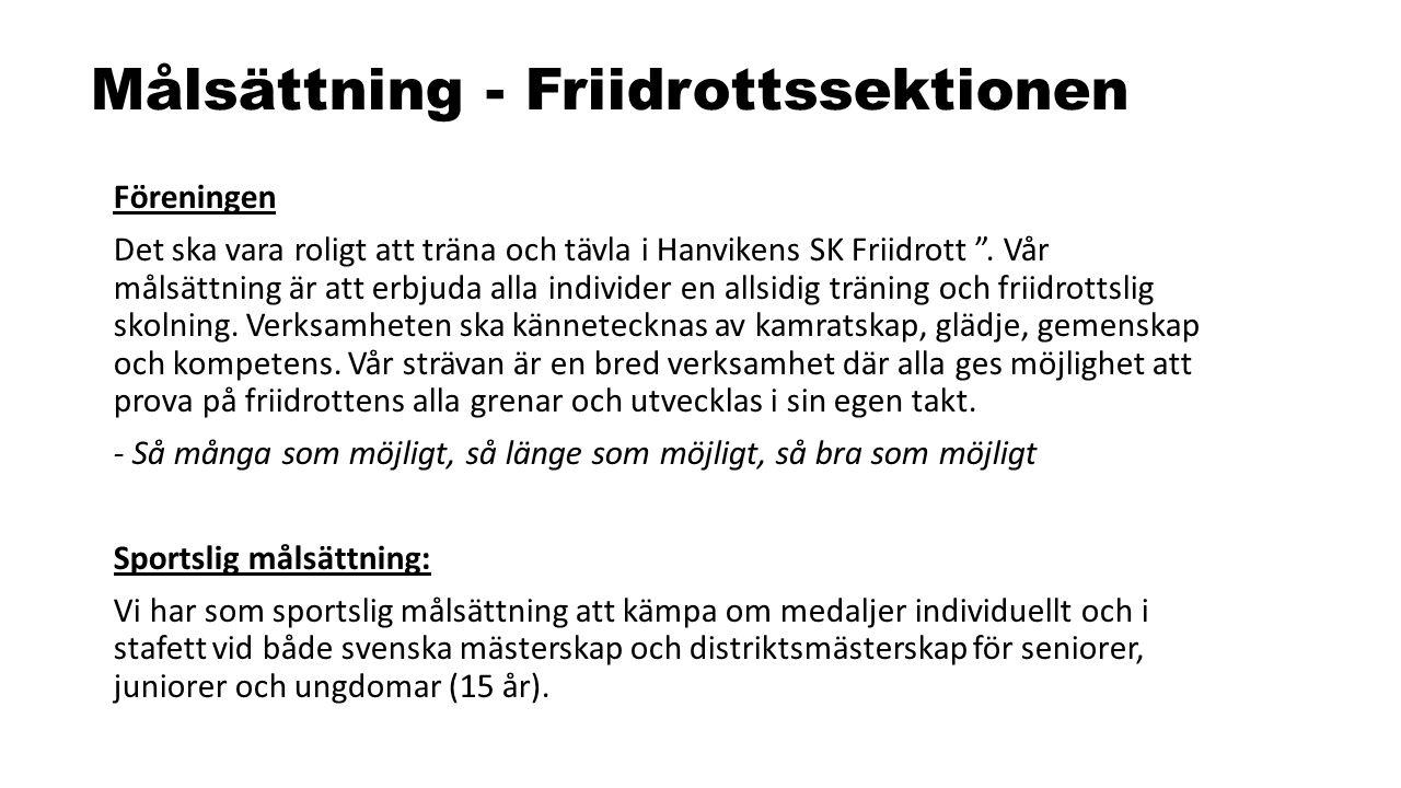 """Målsättning - Friidrottssektionen Föreningen Det ska vara roligt att träna och tävla i Hanvikens SK Friidrott """". Vår målsättning är att erbjuda alla i"""