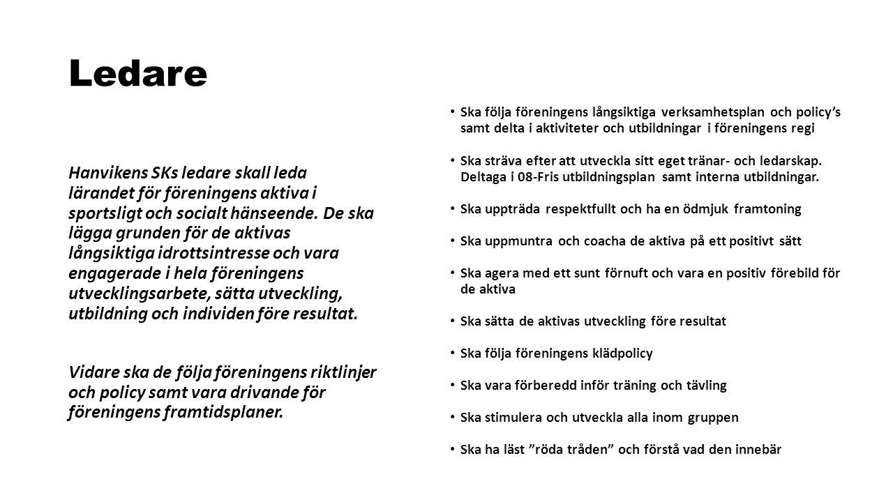 Ledare Hanvikens SKs ledare skall leda lärandet för föreningens aktiva i sportsligt och socialt hänseende. De ska lägga grunden för de aktivas långsik