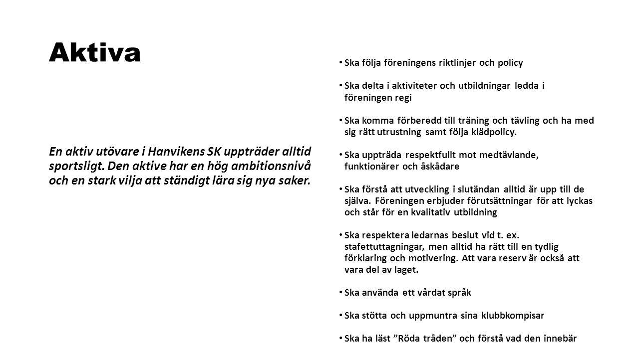Aktiva En aktiv utövare i Hanvikens SK uppträder alltid sportsligt. Den aktive har en hög ambitionsnivå och en stark vilja att ständigt lära sig nya s