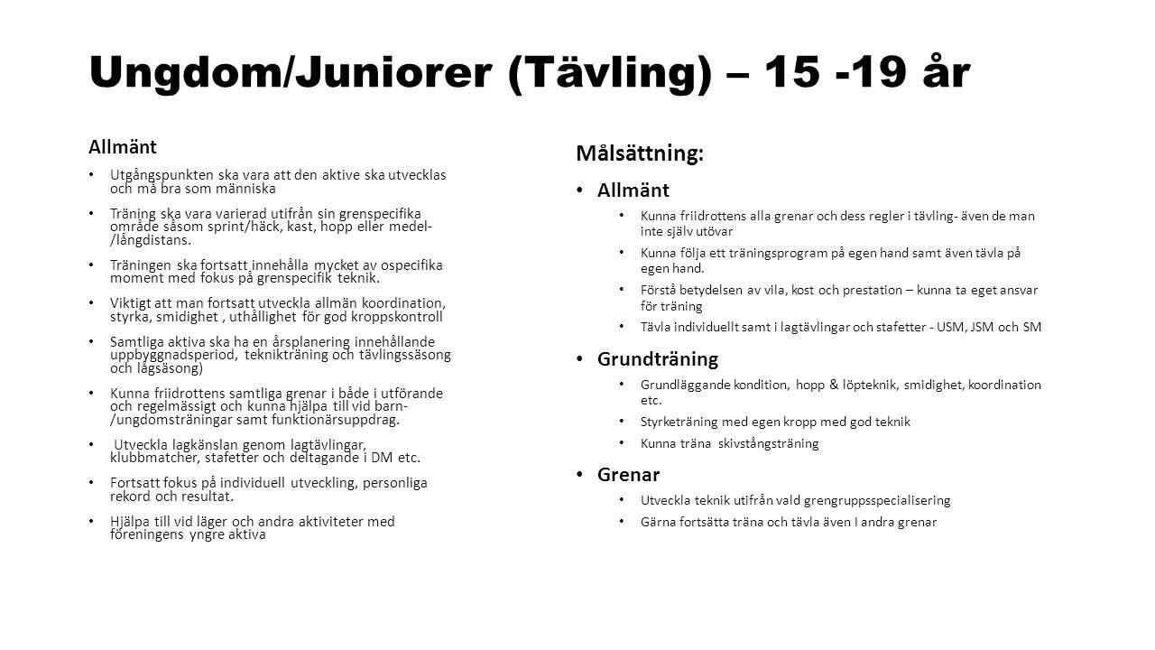 Ungdom/Juniorer (Tävling) – 15 -19 år Allmänt Utgångspunkten ska vara att den aktive ska utvecklas och må bra som människa Träning ska vara varierad u