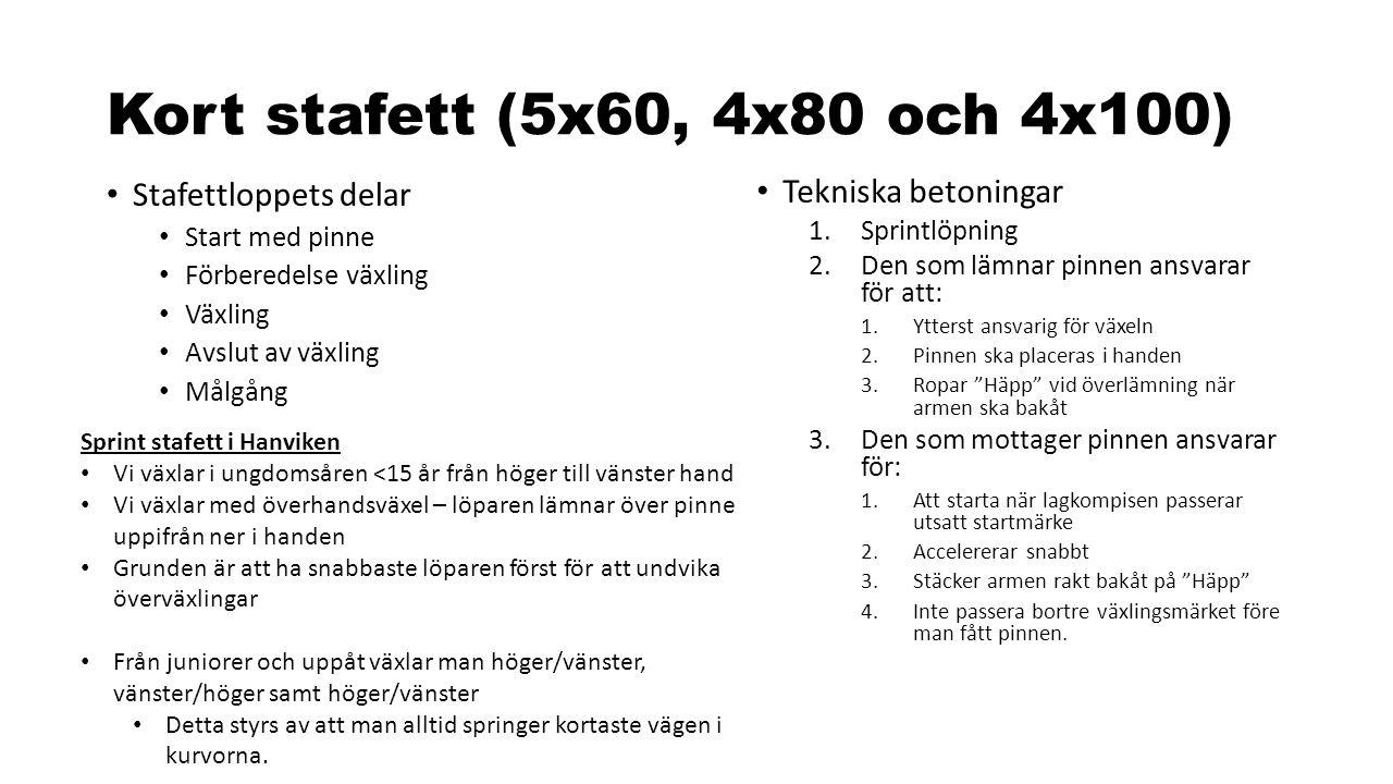 Kort stafett (5x60, 4x80 och 4x100) Stafettloppets delar Start med pinne Förberedelse växling Växling Avslut av växling Målgång Tekniska betoningar 1.