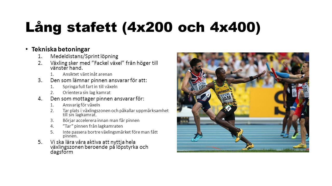 """Lång stafett (4x200 och 4x400) Tekniska betoningar 1.Medeldistans/Sprint löpning 2.Växling sker med """"Fackel växel"""" från höger till vänster hand. 1.Ans"""