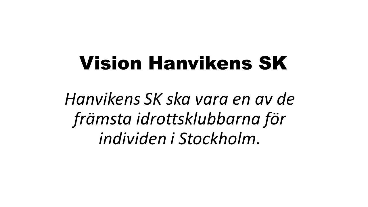 Vision Hanvikens SK Hanvikens SK ska vara en av de främsta idrottsklubbarna för individen i Stockholm.