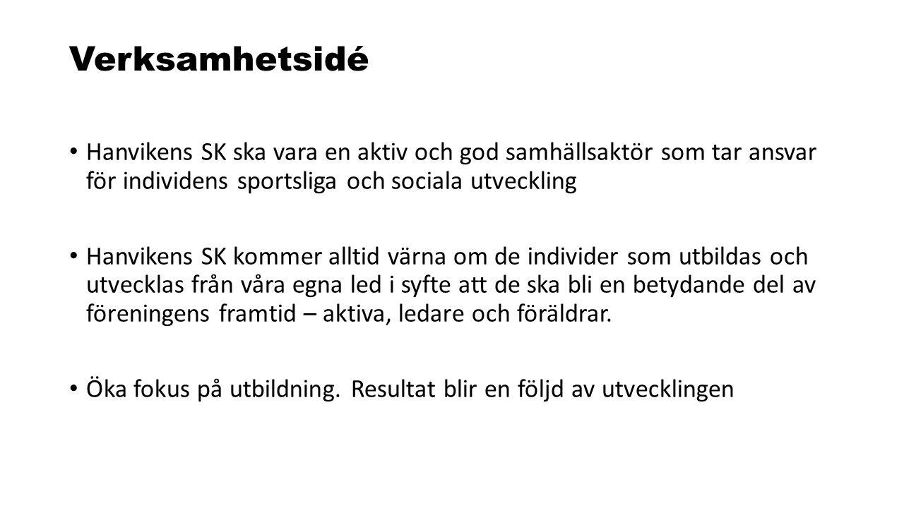 Verksamhetsidé Hanvikens SK ska vara en aktiv och god samhällsaktör som tar ansvar för individens sportsliga och sociala utveckling Hanvikens SK komme