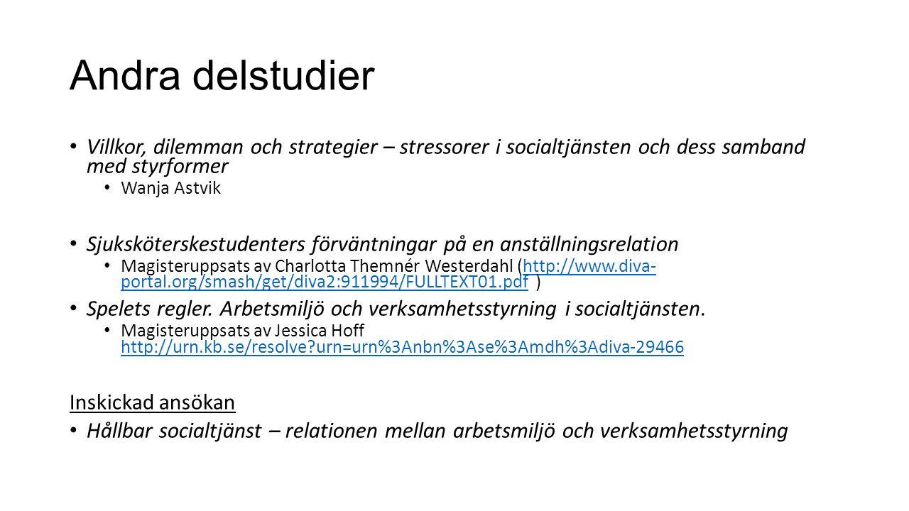 Andra delstudier Villkor, dilemman och strategier – stressorer i socialtjänsten och dess samband med styrformer Wanja Astvik Sjuksköterskestudenters förväntningar på en anställningsrelation Magisteruppsats av Charlotta Themnér Westerdahl (http://www.diva- portal.org/smash/get/diva2:911994/FULLTEXT01.pdf )http://www.diva- portal.org/smash/get/diva2:911994/FULLTEXT01.pdf Spelets regler.