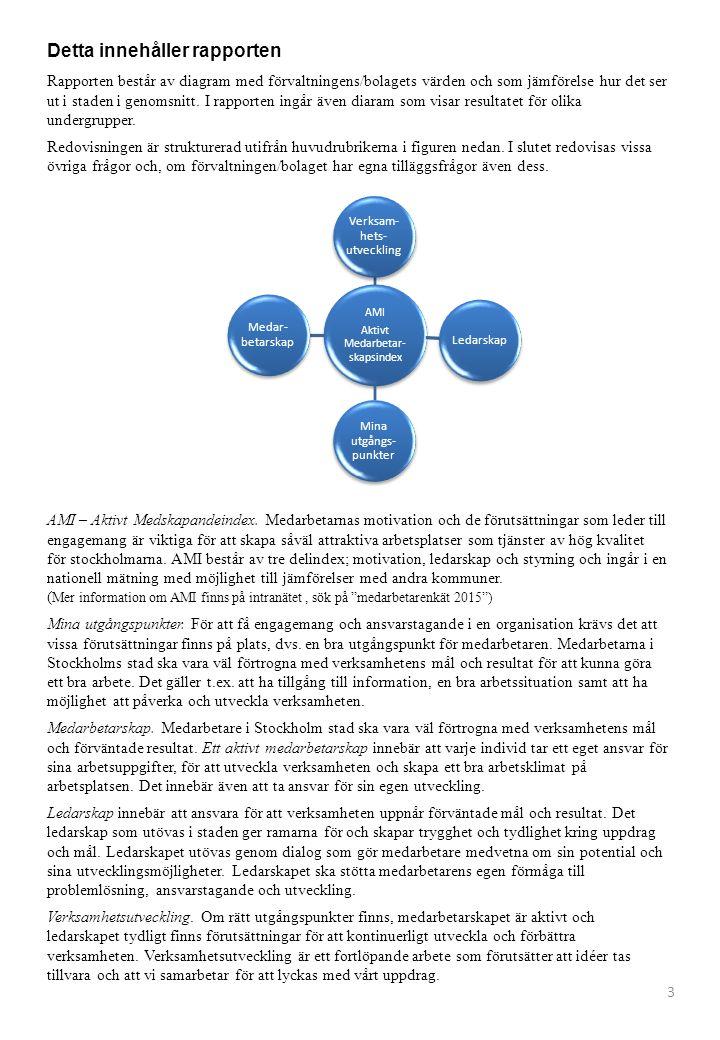 Detta innehåller rapporten Rapporten består av diagram med förvaltningens/bolagets värden och som jämförelse hur det ser ut i staden i genomsnitt.