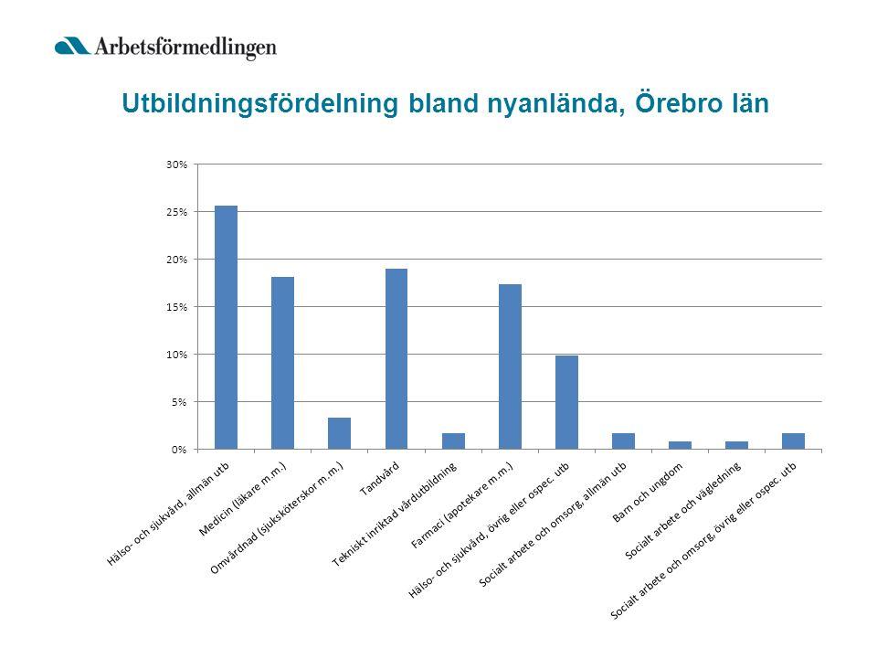 Utbildningsfördelning bland nyanlända, Örebro län