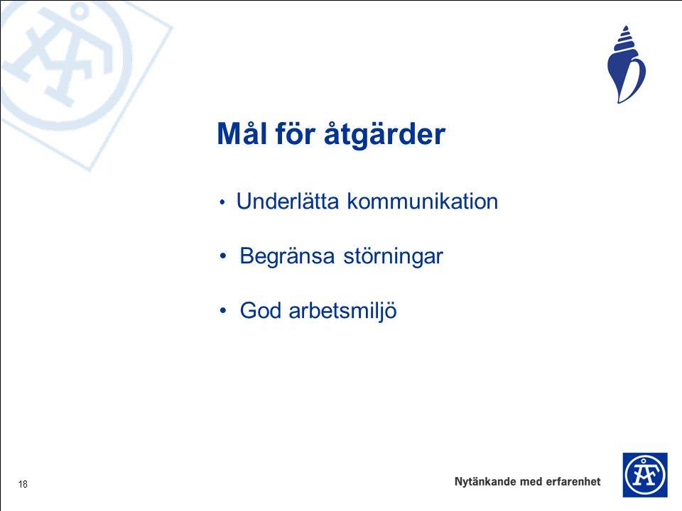 18 Mål för åtgärder Underlätta kommunikation Begränsa störningar God arbetsmiljö