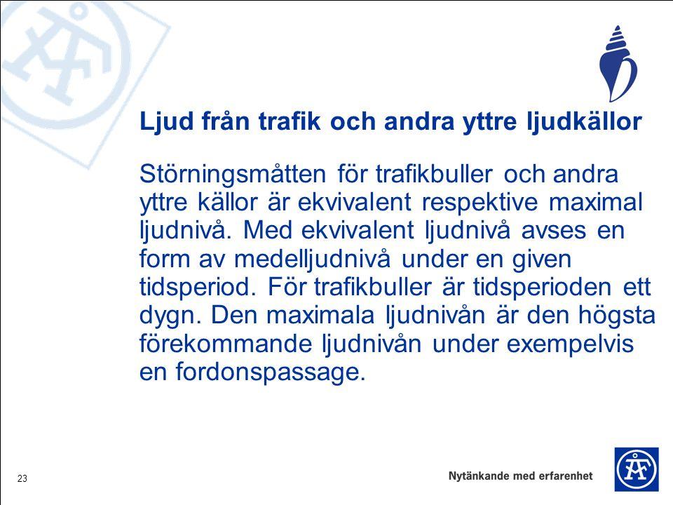 23 Ljud från trafik och andra yttre ljudkällor Störningsmåtten för trafikbuller och andra yttre källor är ekvivalent respektive maximal ljudnivå.
