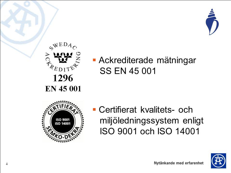 4  Ackrediterade mätningar SS EN 45 001  Certifierat kvalitets- och miljöledningssystem enligt ISO 9001 och ISO 14001