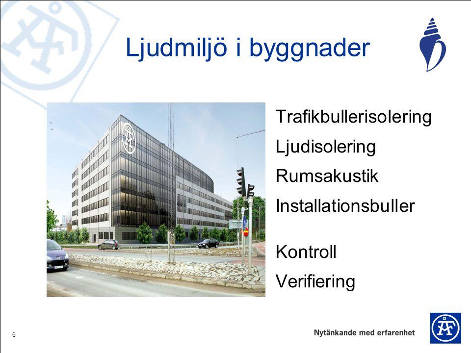 6 Trafikbullerisolering Ljudisolering Rumsakustik Installationsbuller Kontroll Verifiering Ljudmiljö i byggnader