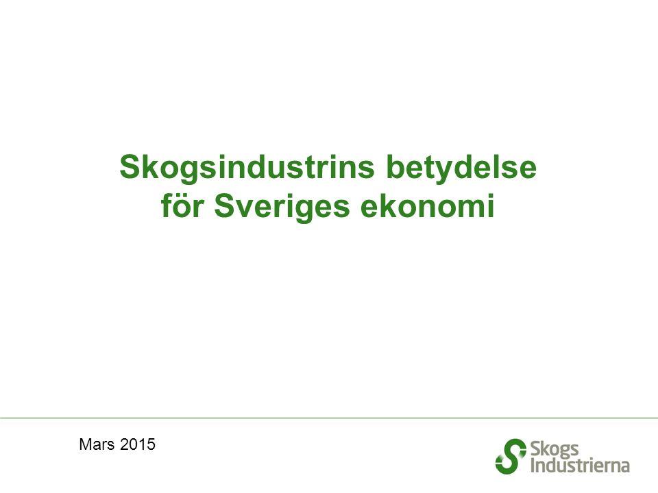 Skogsindustrins betydelse för Sveriges ekonomi Mars 2015