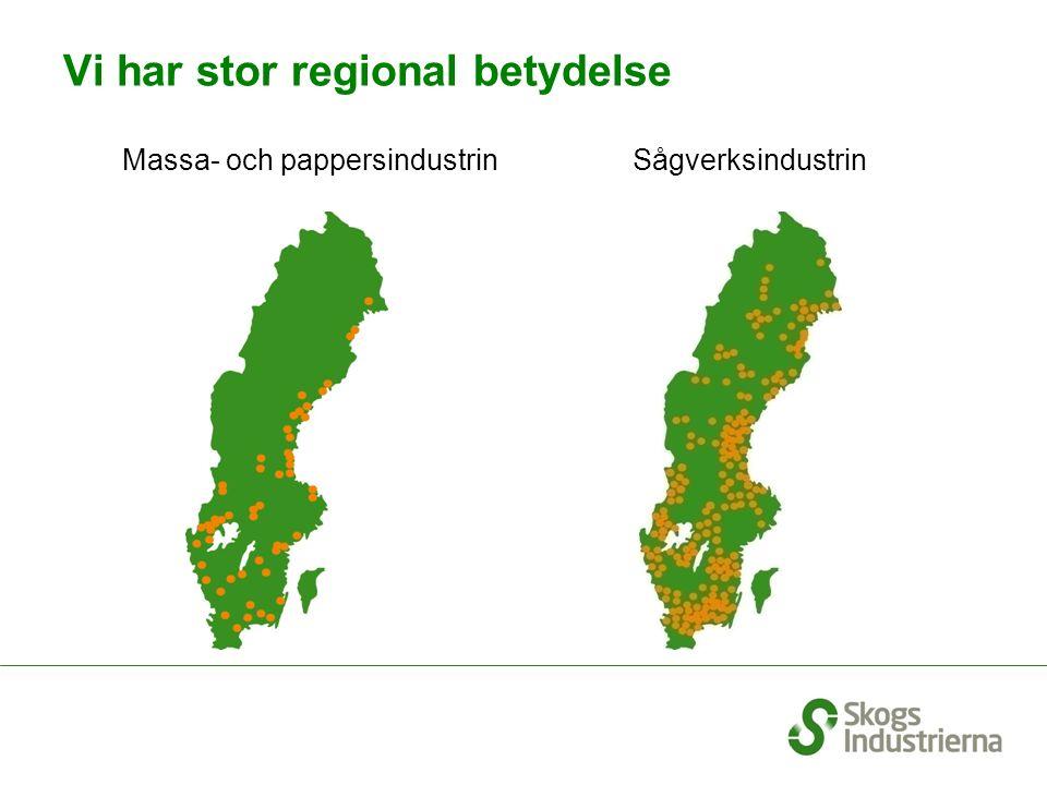 Skogsindustrins betydelse för Sveriges ekonomi; andel av total industrisektor % Källa: SCB 9 – 12 % 15 - 20 % Källa: SCB Företagens ekonomi, Investeringsenkät resp Utrikeshandelsstatistik