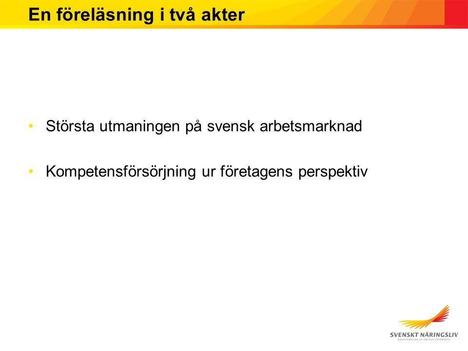 En föreläsning i två akter Största utmaningen på svensk arbetsmarknad Kompetensförsörjning ur företagens perspektiv