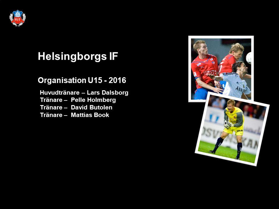 Helsingborgs IF Organisation U15 - 2016 Huvudtränare – Lars Dalsborg Tränare – Pelle Holmberg Tränare – David Butolen Tränare – Mattias Book